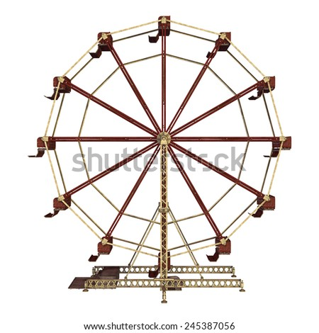 3D digital render of a vintage ferris wheel isolated on white background - stock photo
