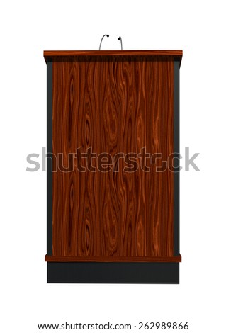 3D digital render of a wooden lectern isolated on white background - stock photo