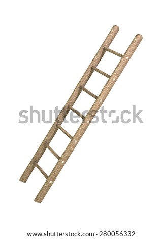 3D digital render of a wooden step ladder isolated on white background - stock photo
