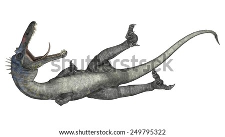 3D digital render of a wounded dinosaur Suchomimus or Suchomimus tenerensis isolated on white background - stock photo