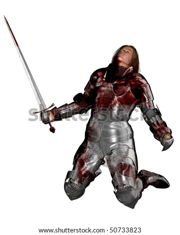 3D digital render of a wounded knight in bloodstained armour - stock photo