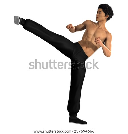 3D digital render of a young Asian man exercising martial arts isolated on white background - stock photo