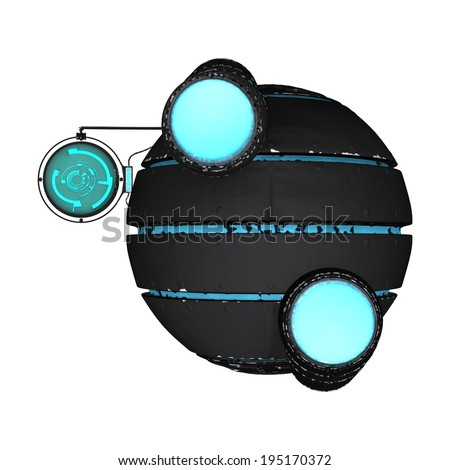 3D digital render of an alien spaceship isolated on white background - stock photo
