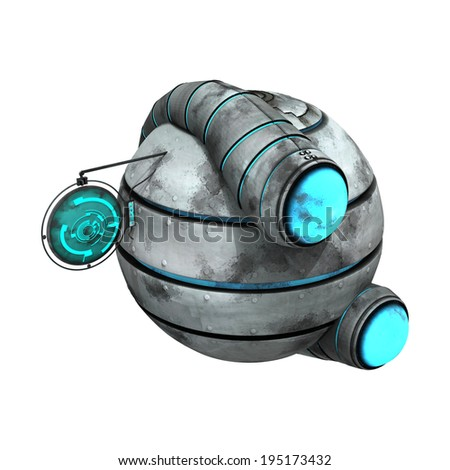 3D digital render of an alien spaceship isolated on white background