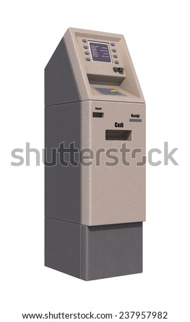 3D digital render of an automated teller machine isolated on white background - stock photo