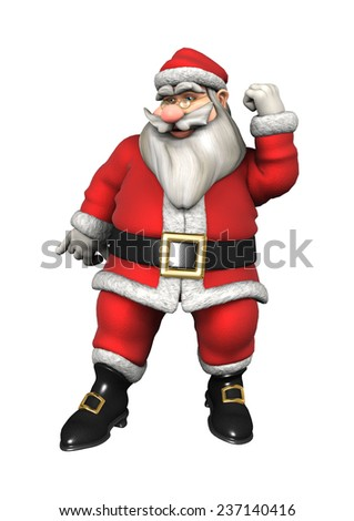 3D digital render of an exercising Santa isolated on white background