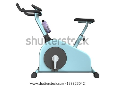 3D digital render of an indoor exercise bike isolated on white background