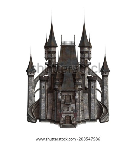 3D digital render of an old fairytale castle isolated on white background - stock photo
