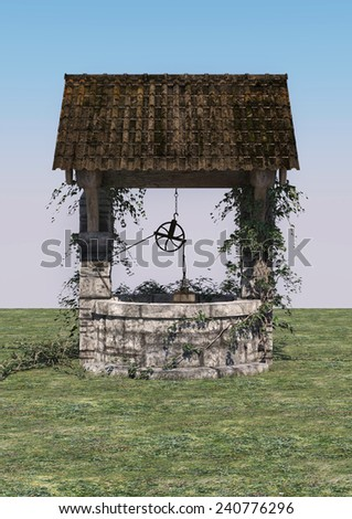 3D digital render of an old wishing well on blue sky background - stock photo