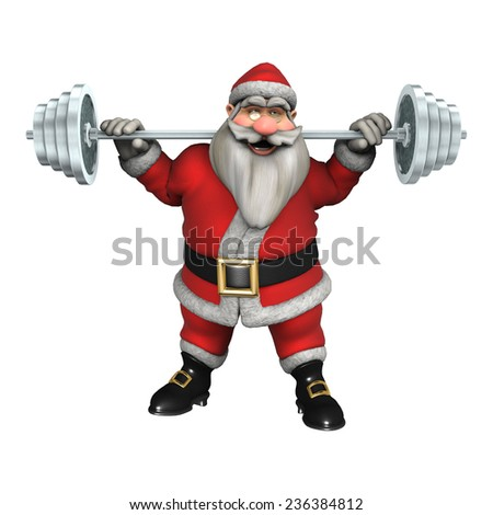 3D digital render of Santa exercising with weights isolated on white background - stock photo