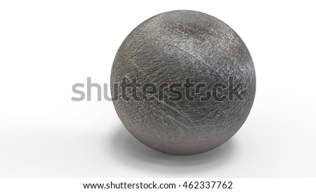3D digital render of sphere with reflection isolated over white background