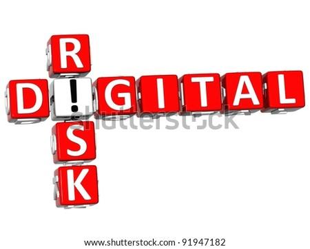 3D Digital Risk Crossword on white background - stock photo