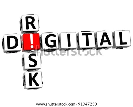 3D Digital Risk Crossword on white background - stock photo