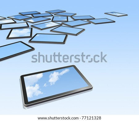 3D digital tablet PC on a blue background with sky screens. With screens clipping path - stock photo
