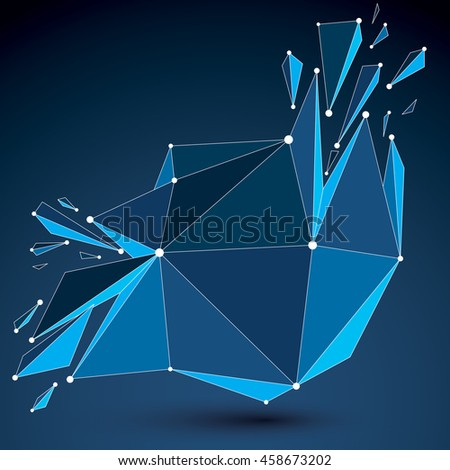 3d digital wireframe object broken into different particles and refractions, geometric polygonal structure with blue lines mesh. Low poly shattered shape with luminescent effect.