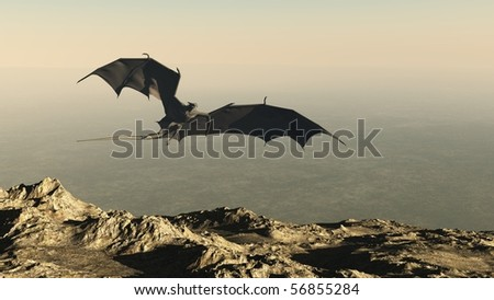 3d Digitally rendered illustration of a dragon flying over a mountain cliff, hunting for it's prey - stock photo