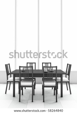 3d dining table - stock photo