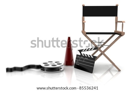 3D Directors chair on a white background