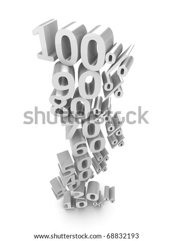 3d discount number percentage concept, isolated on white background. - stock photo