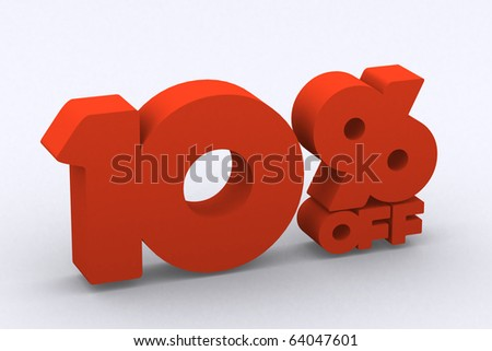 3d discount 10 percent off - stock photo