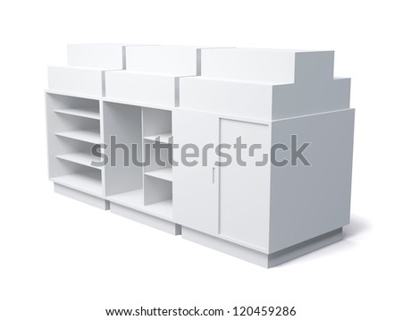 3D Display shelves and shelf  on a white background. Isolated - stock photo