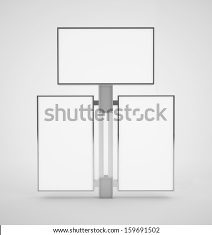 3d display stand consisting of three panels - stock photo
