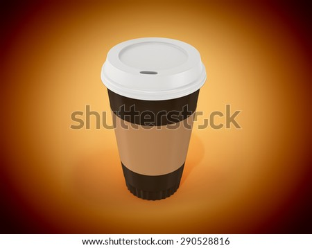 3d  disposable coffee cup on orange background - stock photo