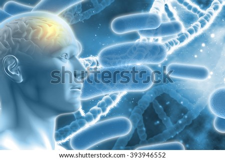 3D DNA medical background with male figure with brain and virus cells - stock photo
