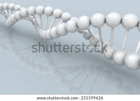 3d DNA model on gray background. digitally generated image. - stock photo