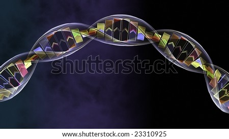 3d DNA spiral strand silhouetted on a blue background - stock photo