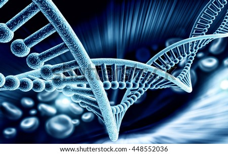 3d DNA structure - stock photo