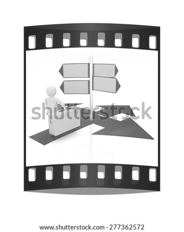 3d doctor and arrows. The film strip - stock photo