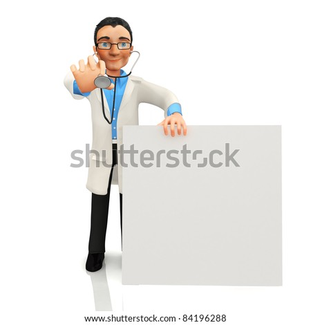 3D doctor with a banner - isolated over a white background - stock photo