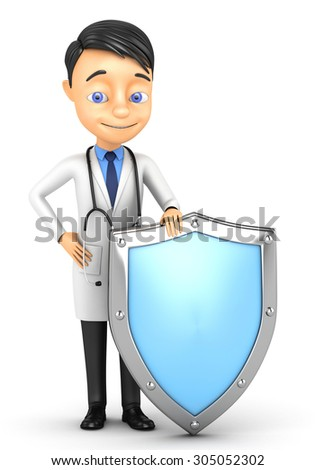 3d doctor with a shield on a white background - stock photo