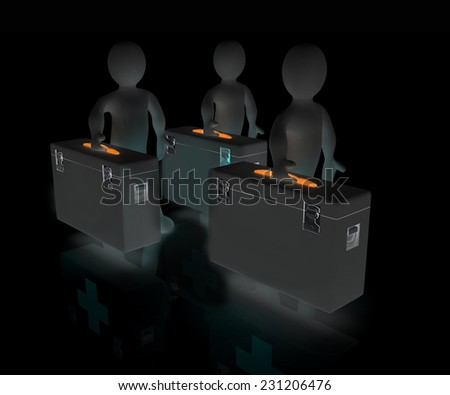 3d doctors on a black background - stock photo