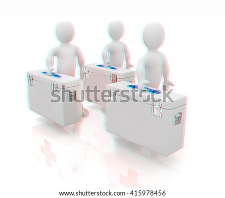 3d doctors on a white background. 3D illustration. Anaglyph. View with red/cyan glasses to see in 3D. - stock photo