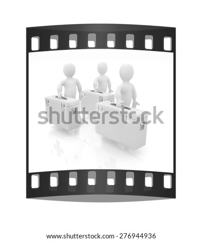 3d doctors on a white background. The film strip. The film strip - stock photo