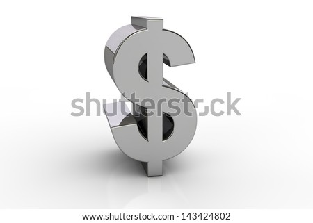 3D dollar currency symbol,  over white background