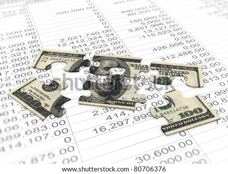 3d dollar puzzle pieces  on the background of spreadsheet - stock photo