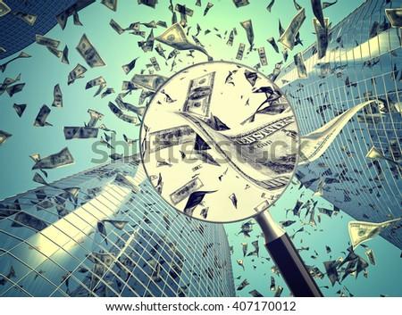3d dollar rain and skyscraper background - stock photo