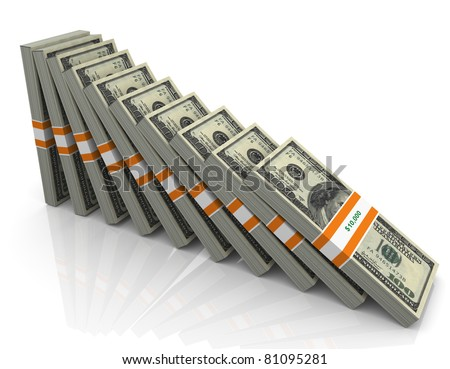 3d dollars packs falling in the line of domino - stock photo