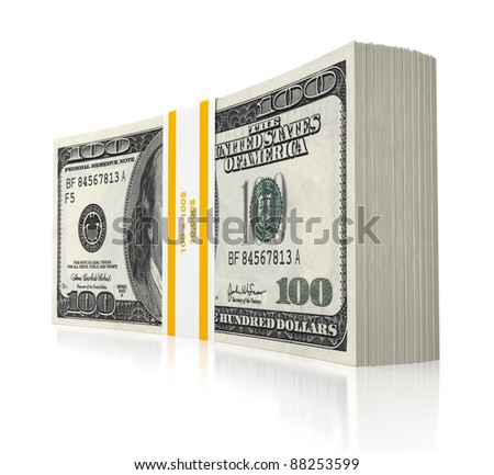 3d dollars stack - stock photo