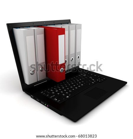 3d dossier popping out from a laptop screen - stock photo