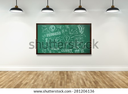 3d drawing business concept on blackboard in room - stock photo