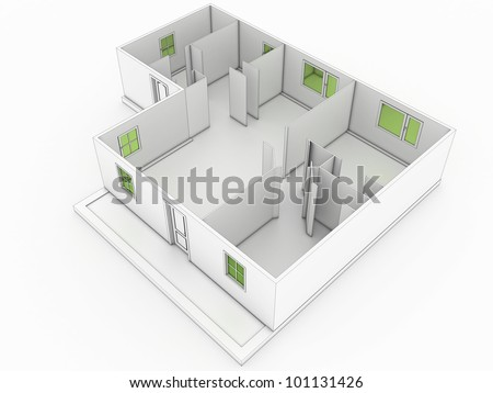 3d drawing of a building 1 - stock photo