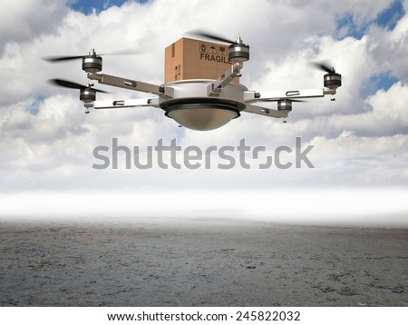 3d drone delivery in desert - stock photo