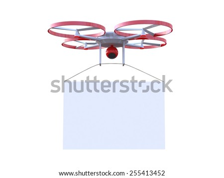 3D drone with camera - stock photo