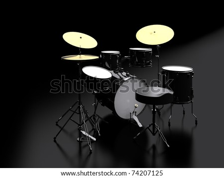 3d drum kit - stock photo