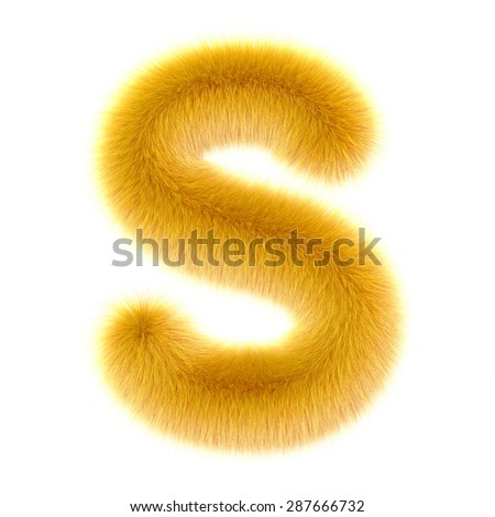 "3d ""Duckling"" creative decorative fur letter S - stock photo"