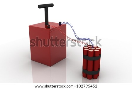 3D dynamite on a white background